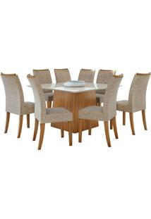 Sala De Jantar Nevada 130Cm Com 8 Cadeiras Rovere Velvet Riscado Bege