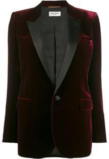 Saint Laurent Blazer Com Abotoamento Simples E Efeito De Veludo - Vermelho