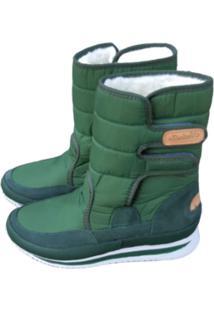 Bota Forrada Andarilha Neve E Frio Velcro Verde Militar