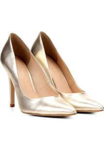 Scarpin Em Couro Metalizado- Dourado- Salto: 10Cmshoestock