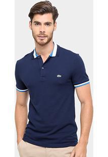 Camisa Polo Lacoste Piquet Slim Fit Gola Contraste Masculina - Masculino