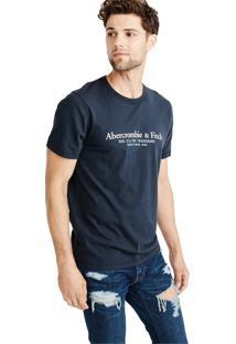 Camiseta Manga Curta Abercrombie Gráfica Azul Marinho