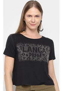Camiseta Lança Perfume Hot Fix Feminina - Feminino-Preto