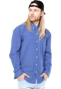 Camisa Manga Longa Volcom Weirdoh Minicheck Azul