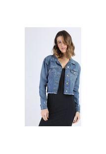 Jaqueta Jeans Feminina Cropped Com Recortes E Bolsos Barra Desfiada Azul Médio
