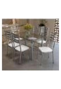 Conjunto Mesa Retangular De Vidro E 6 Cadeiras Kappesberg Cromado/Branco