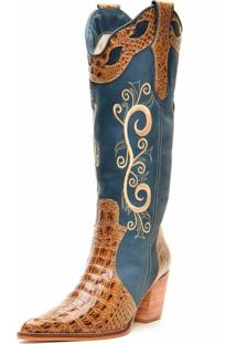 Bota Capelli Texana Boots Bordado Jeans Azul E Marrom