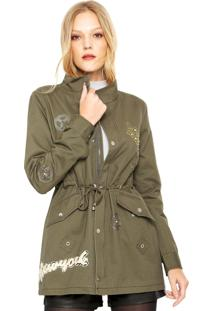 Jaqueta Parka Facinelli By Mooncity Bordada Verde