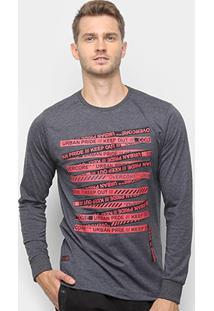 Camiseta Overcore Manga Longa Masculina - Masculino-Cinza+Vermelho