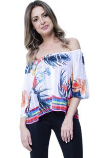 Blusa 101 Resort Wear Tunica Crepe Ombro A Ombro Estampada Floral Branca