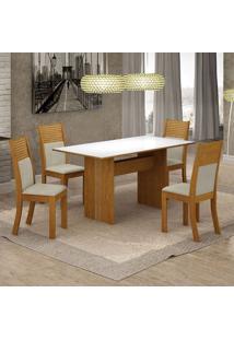 Conjunto De Mesa De Jantar Florença Iv Com 4 Cadeiras Havaí Linho Branco E Bege
