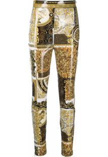Versace Calça Skinny Com Estampa Barroca - Dourado