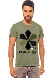 Camiseta Joss Estonada Estampada Plants Masculina - Masculino-Verde