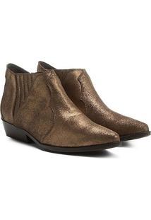 Bota Couro Chelsea Shoestock Cano Curto Feminina - Feminino-Marrom