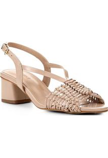 Sandália Shoestock Salto Baixo Macramê Feminina - Feminino-Nude