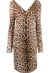 Roberto Cavalli Vestido Animal Print - Marrom