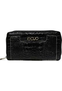 Carteira Em Couro Recuo Fashion Bag Croco Preto