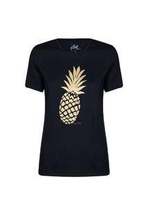 Camiseta Feminina Abacaxi Preto