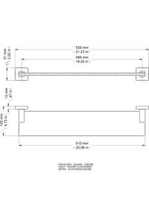 Prateleira Docol Square 54Cm Acrílico/Chrome