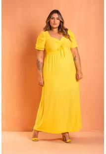 Vestido Longo Laise Amarelo Plus Size