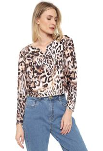 Blusa Cropped Dimy Animal Print Bege