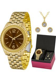 Kit Relógio Lince Feminino Colar E Brincos Lrg4556Lkv07M2Kx