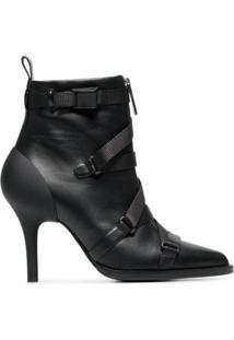 Chloé Ankle Boot Com Tiras E Salto 90Mm - Preto