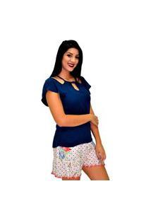 Blusa Energia Fashion 271184 Decote Azul-Marinho