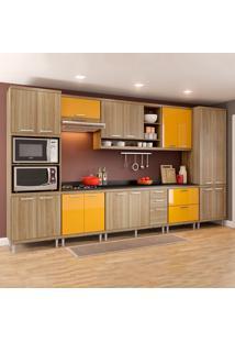 Cozinha Completa Com Tampo 17 Portas 5 Gavetas 5833 Argila/Amarelo - Multimóveis