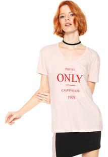 Camiseta Calvin Klein Jeans Lettering Rosa
