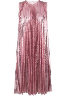 Msgm Sequin Pleated Insert Dress - Rosa