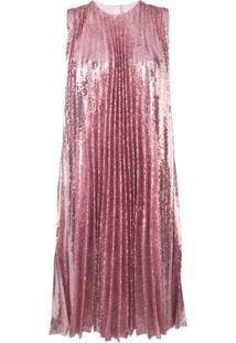 Msgm Sequin Pleated Insert Dress - Rosa