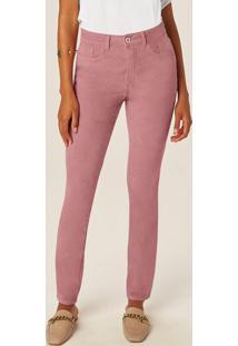 Calça Rosa Skinny Em Veludo Alta