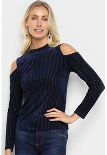 Blusa Open Shoulder Holin Stone Canelada Veludo Feminina - Feminino-Azul