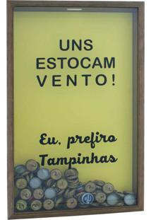 Quadro Porta Tampinhas Vento 30X50X5 Natural