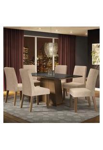 Conjunto Sala De Jantar Madesa Patricia Mesa Tampo De Vidro Com 6 Cadeiras - Rustic/Preto/Imperial Marrom