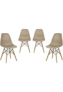 Kit 04 Cadeiras Eiffel Charles Eames Nude F01 Com Base De Madeira - Mp
