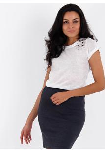 Camiseta Com Pedrarias Feminina Acrobat - Branco