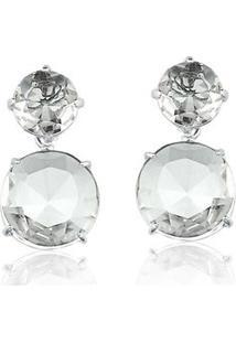 Brinco Toque De Joia Duo De Pedras Quartzo Cristal Ouro Branco - Feminino-Prata
