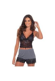 Short Doll Click Chique Alça Sexy Cropped Rendado Cinza