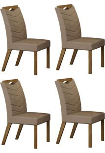 Conjunto Com 4 Cadeiras Verona Ipê E Veludo Camurça