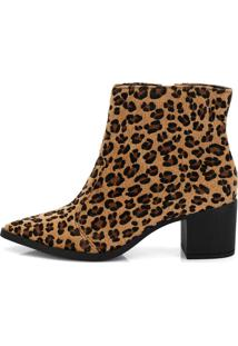 Bota Not-Me Holly Cano Curto Bico Fino Animal Print Onça