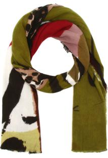 Cachecol Desigual Tricot Happy Forest Verde/Marrom
