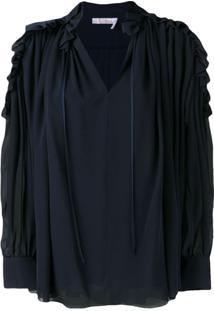 Chloé Off-Shoulder Ruffle Blouse - Azul