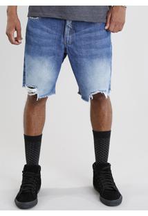 Bermuda Jeans Masculina Reta Destroyed Azul Médio