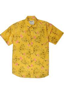 Camisa Estampada Linoleum Manga Curta Benjamin Amarelo