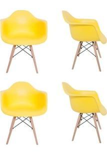 Kit 4 Cadeiras Eiffel Melbourne Amarela Com Pés Palito Em Madeira - Mp Decor