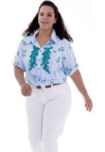 Camisa Aniela Aplicação Plus Size