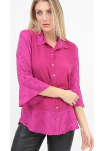 Camisa Com Bordado - Rosascalon