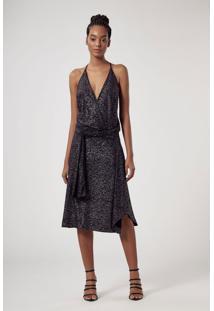 Vestido De Malha Glitter Preta Midi Com Alça Fina E Faixa Na Cintura Preto